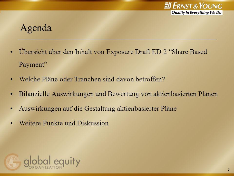 3 Agenda Übersicht über den Inhalt von Exposure Draft ED 2 Share Based Payment Welche Pläne oder Tranchen sind davon betroffen? Bilanzielle Auswirkung