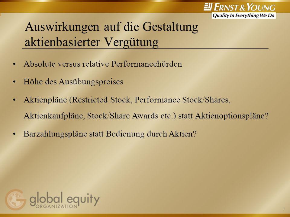 8 Weitere Punkte und Diskussion Einfluss der IASB Vorschläge auf die Bilanzierung unter US GAAP (mögliche Abschaffung der Wahlmöglichkeit) Handlungsbedarf für existierende und/oder neue Pläne?