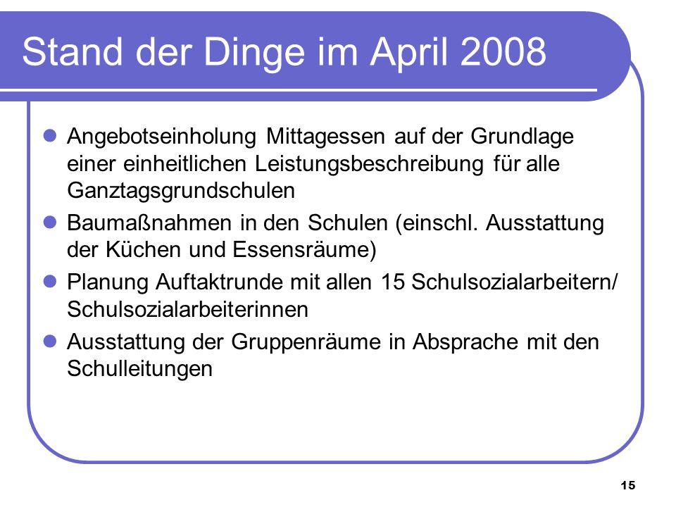 15 Stand der Dinge im April 2008 Angebotseinholung Mittagessen auf der Grundlage einer einheitlichen Leistungsbeschreibung für alle Ganztagsgrundschul