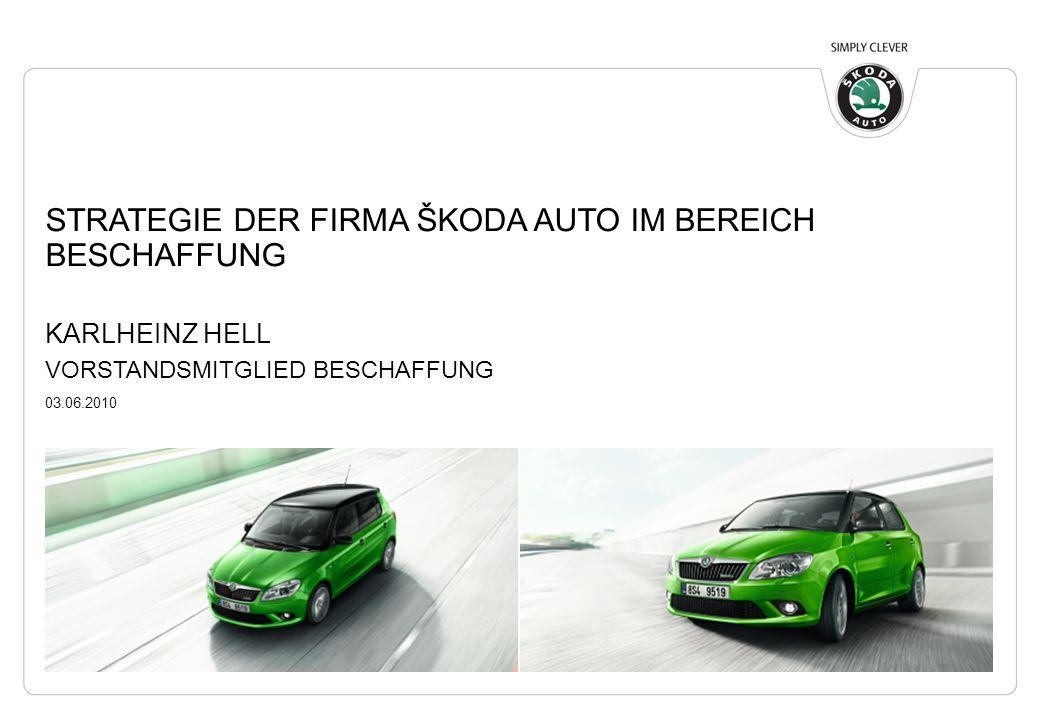 STRATEGIE DER FIRMA ŠKODA AUTO IM BEREICH BESCHAFFUNG KARLHEINZ HELL VORSTANDSMITGLIED BESCHAFFUNG 03.06.2010