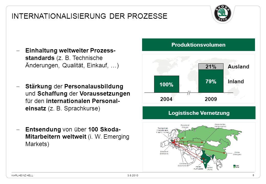 Produktionsvolumen Logistische Vernetzung Einhaltung weltweiter Prozess- standards (z. B. Technische Änderungen, Qualität, Einkauf, …) Stärkung der Pe