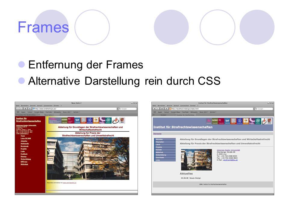 Frames Entfernung der Frames Alternative Darstellung rein durch CSS
