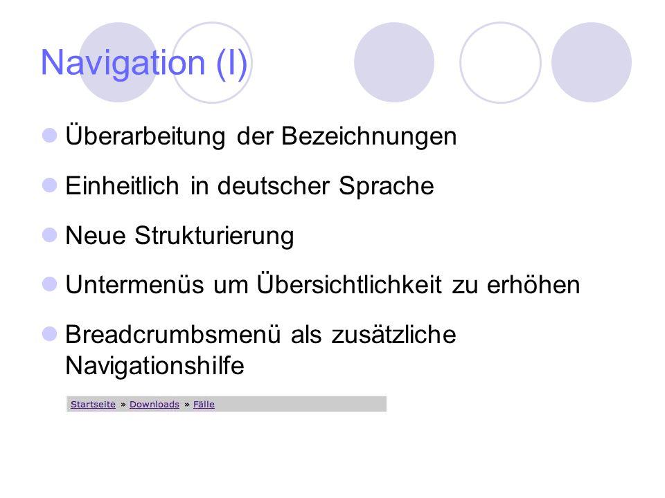 Navigation (I) Überarbeitung der Bezeichnungen Einheitlich in deutscher Sprache Neue Strukturierung Untermenüs um Übersichtlichkeit zu erhöhen Breadcrumbsmenü als zusätzliche Navigationshilfe