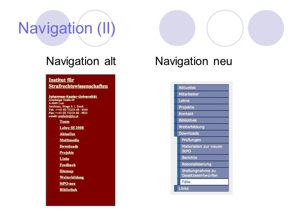 Navigation (II) Navigation altNavigation neu