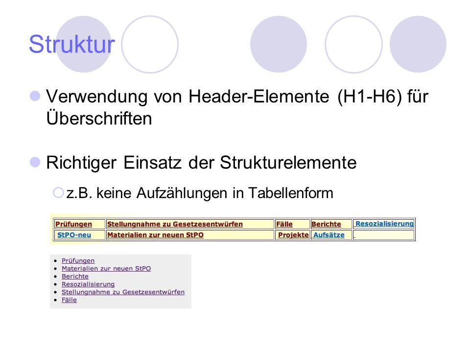 Struktur Verwendung von Header-Elemente (H1-H6) für Überschriften Richtiger Einsatz der Strukturelemente z.B. keine Aufzählungen in Tabellenform