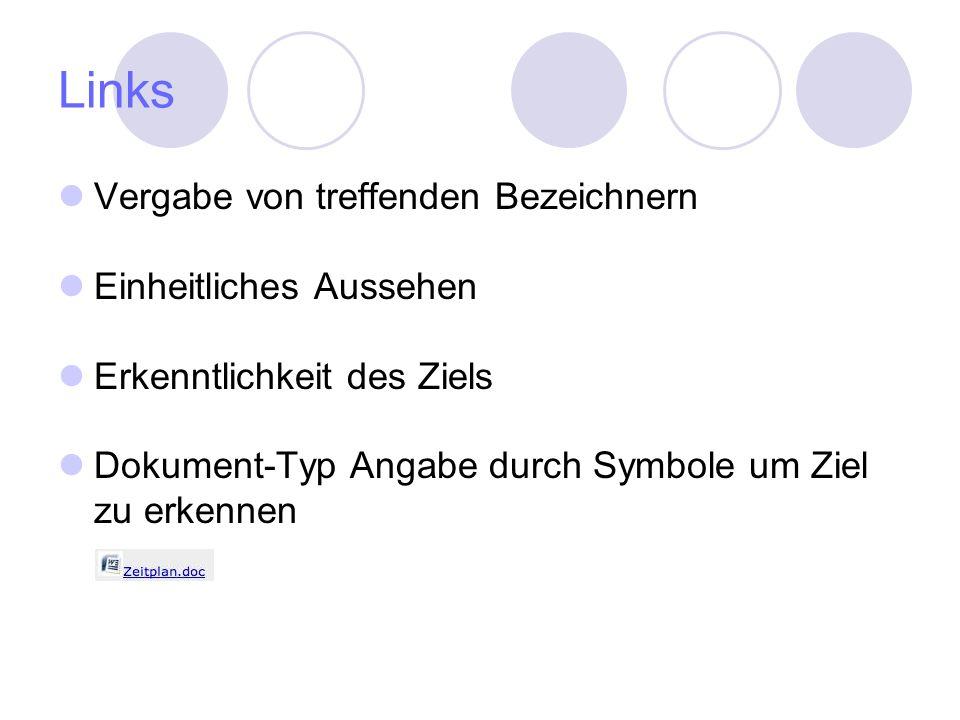 Links Vergabe von treffenden Bezeichnern Einheitliches Aussehen Erkenntlichkeit des Ziels Dokument-Typ Angabe durch Symbole um Ziel zu erkennen