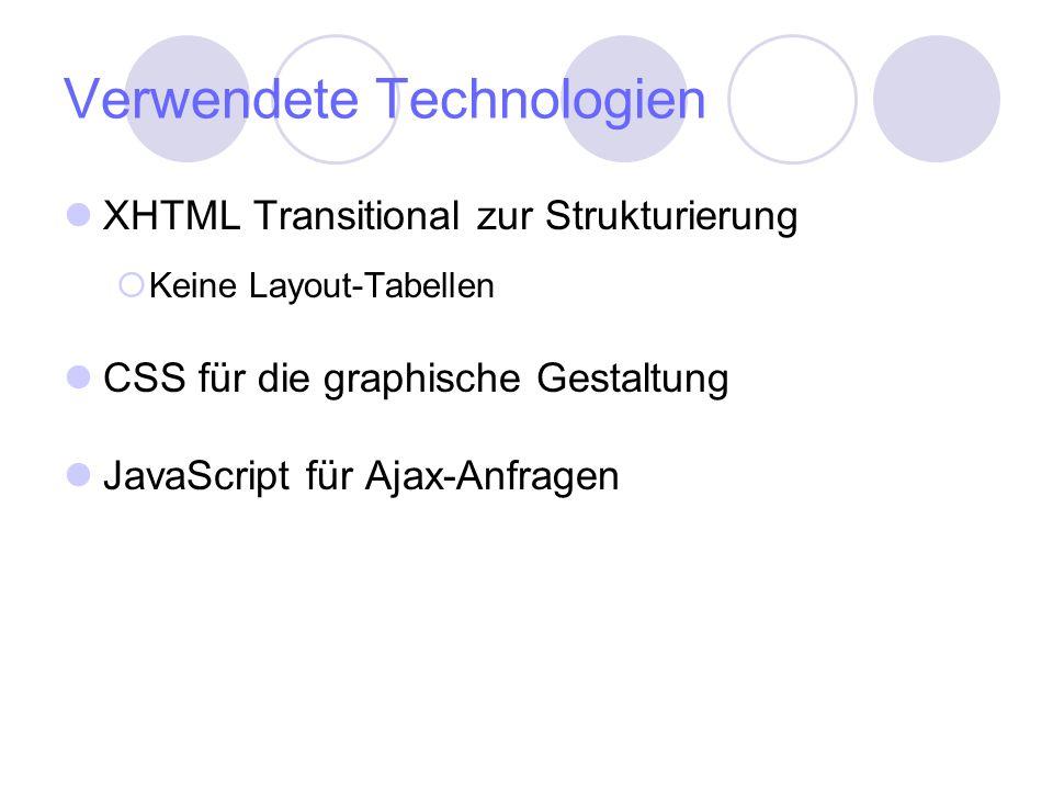 Verwendete Technologien XHTML Transitional zur Strukturierung Keine Layout-Tabellen CSS für die graphische Gestaltung JavaScript für Ajax-Anfragen