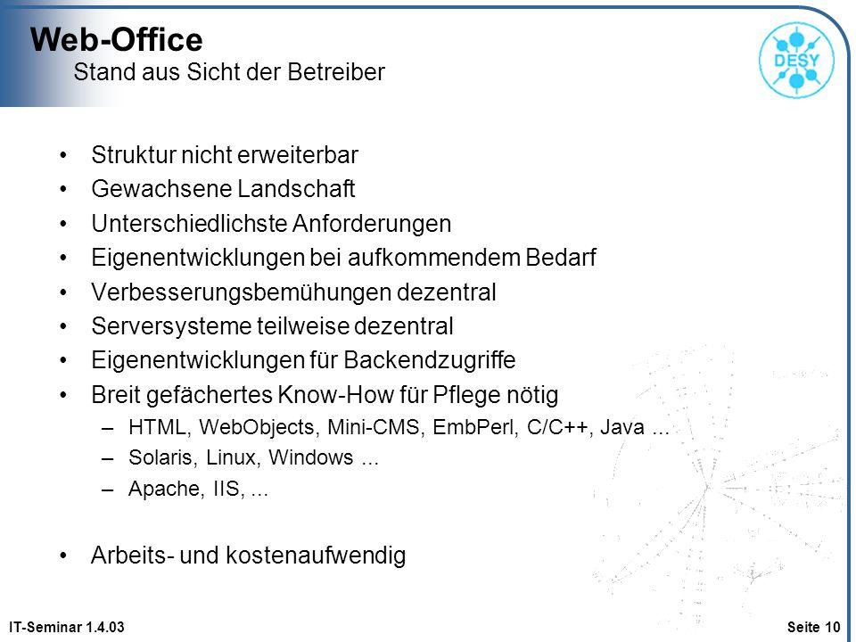 Web-Office IT-Seminar 1.4.03 Seite 10 Stand aus Sicht der Betreiber Struktur nicht erweiterbar Gewachsene Landschaft Unterschiedlichste Anforderungen