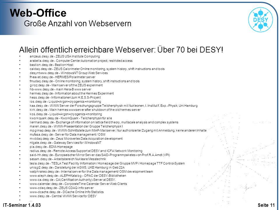 Web-Office IT-Seminar 1.4.03 Seite 11 Große Anzahl von Webservern Allein öffentlich erreichbare Webserver: Über 70 bei DESY! amzeus.desy.de - ZEUS USA