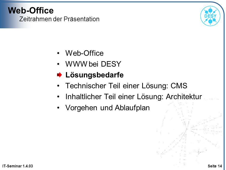 Web-Office IT-Seminar 1.4.03 Seite 14 Zeitrahmen der Präsentation Web-Office WWW bei DESY Lösungsbedarfe Technischer Teil einer Lösung: CMS Inhaltlich