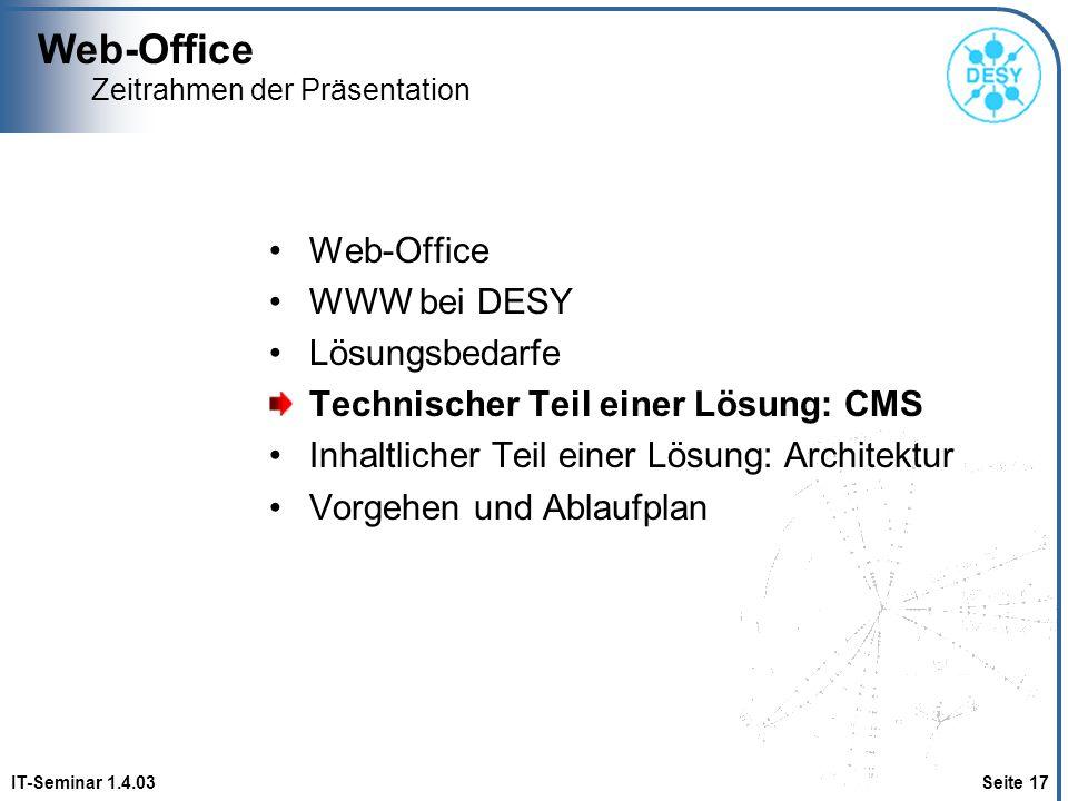 Web-Office IT-Seminar 1.4.03 Seite 17 Zeitrahmen der Präsentation Web-Office WWW bei DESY Lösungsbedarfe Technischer Teil einer Lösung: CMS Inhaltlich