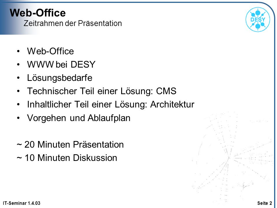 Web-Office IT-Seminar 1.4.03 Seite 33 Funktionalität Community