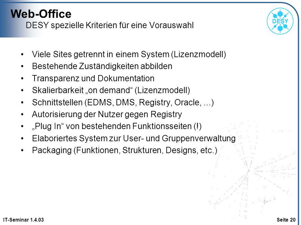 Web-Office IT-Seminar 1.4.03 Seite 20 DESY spezielle Kriterien für eine Vorauswahl Viele Sites getrennt in einem System (Lizenzmodell) Bestehende Zust