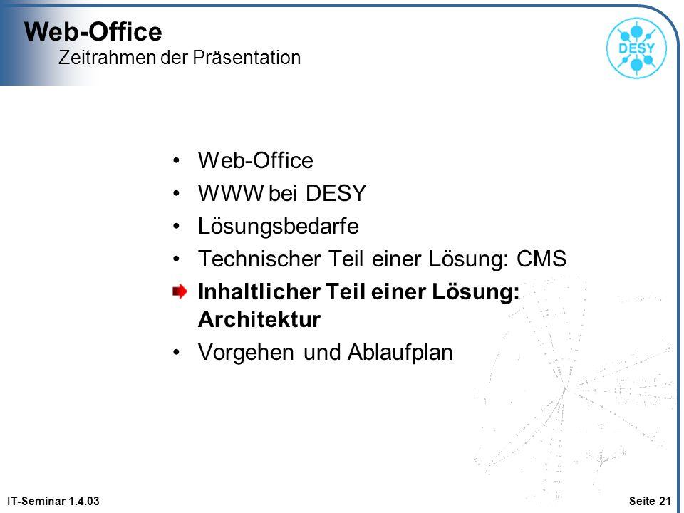 Web-Office IT-Seminar 1.4.03 Seite 21 Zeitrahmen der Präsentation Web-Office WWW bei DESY Lösungsbedarfe Technischer Teil einer Lösung: CMS Inhaltlich