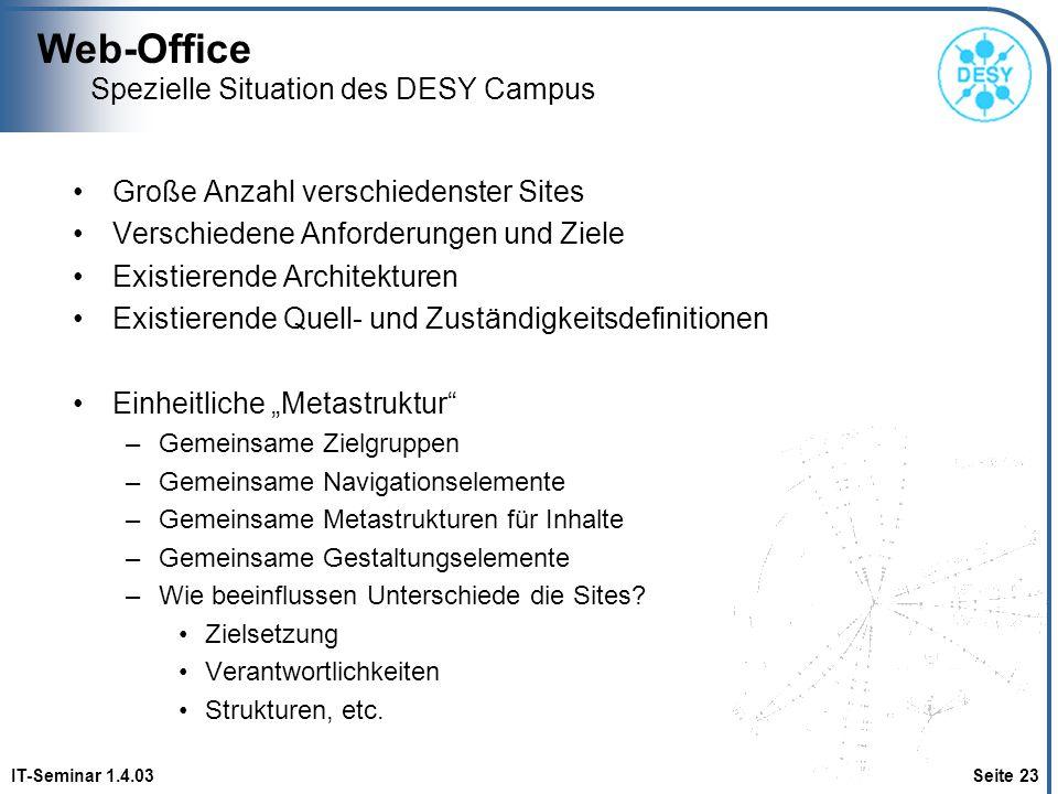 Web-Office IT-Seminar 1.4.03 Seite 23 Spezielle Situation des DESY Campus Große Anzahl verschiedenster Sites Verschiedene Anforderungen und Ziele Exis