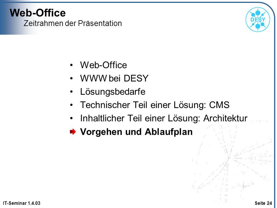 Web-Office IT-Seminar 1.4.03 Seite 24 Zeitrahmen der Präsentation Web-Office WWW bei DESY Lösungsbedarfe Technischer Teil einer Lösung: CMS Inhaltlich