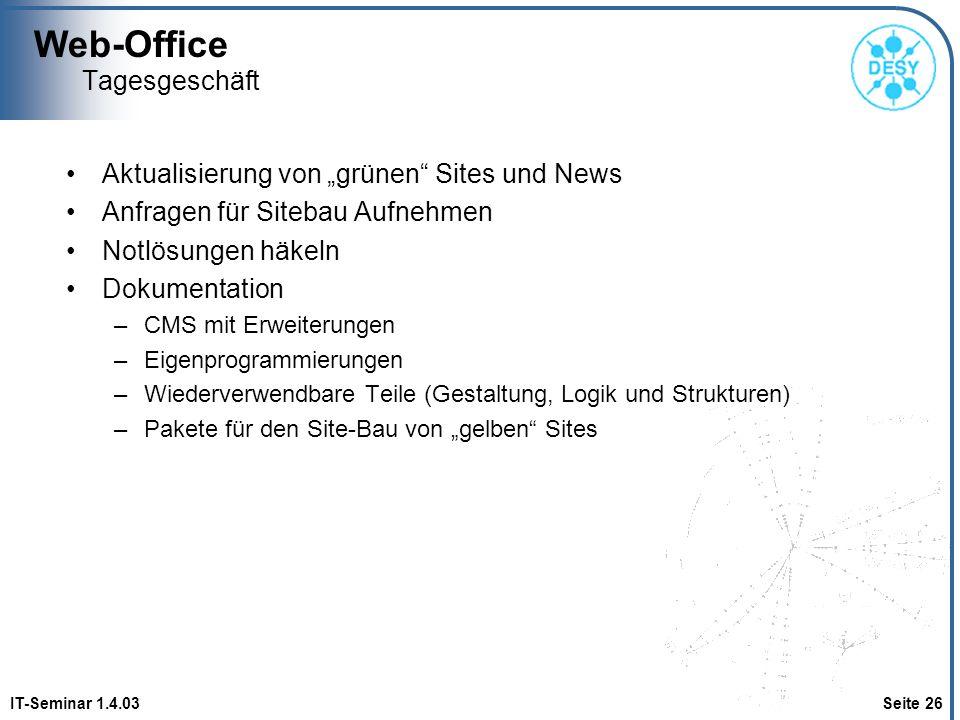 Web-Office IT-Seminar 1.4.03 Seite 26 Tagesgeschäft Aktualisierung von grünen Sites und News Anfragen für Sitebau Aufnehmen Notlösungen häkeln Dokumen
