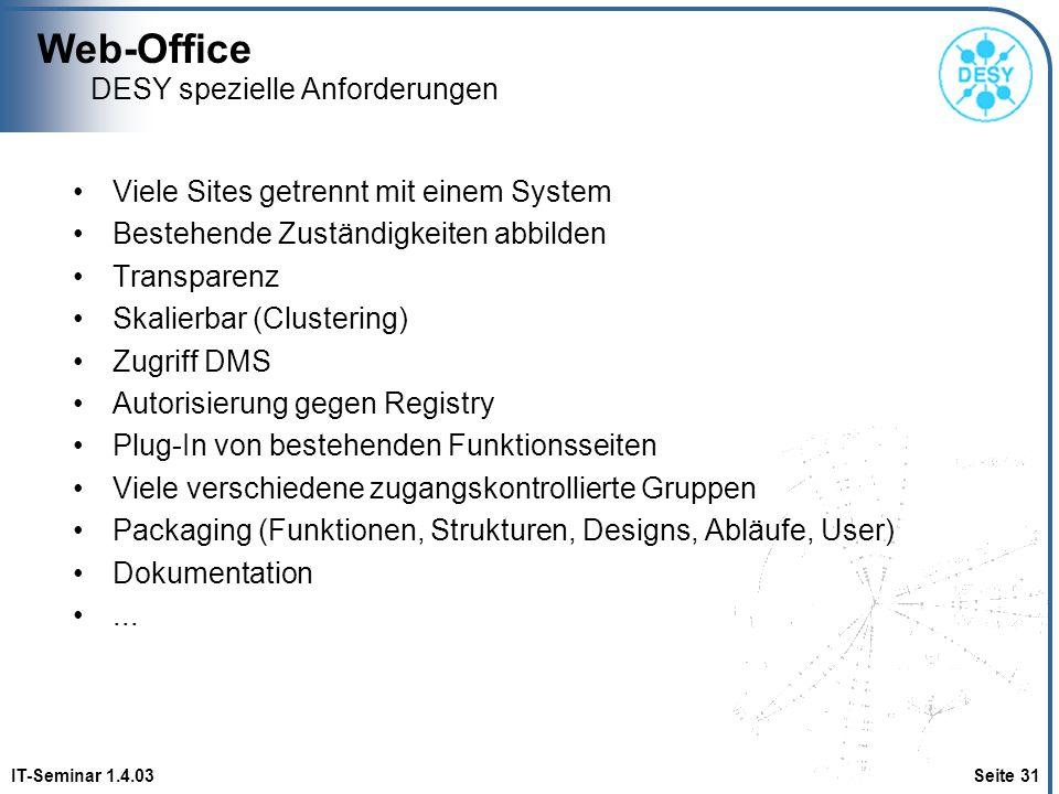 Web-Office IT-Seminar 1.4.03 Seite 31 DESY spezielle Anforderungen Viele Sites getrennt mit einem System Bestehende Zuständigkeiten abbilden Transpare