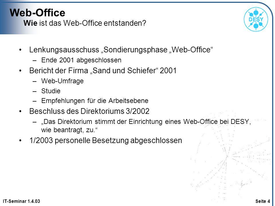 Web-Office IT-Seminar 1.4.03 Seite 4 Wie ist das Web-Office entstanden? Lenkungsausschuss Sondierungsphase Web-Office –Ende 2001 abgeschlossen Bericht
