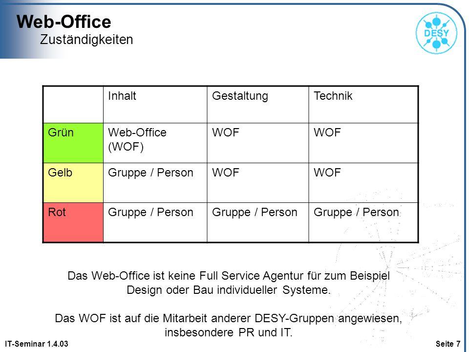 Web-Office IT-Seminar 1.4.03 Seite 7 Zuständigkeiten InhaltGestaltungTechnik GrünWeb-Office (WOF) WOF GelbGruppe / PersonWOF RotGruppe / Person Das We