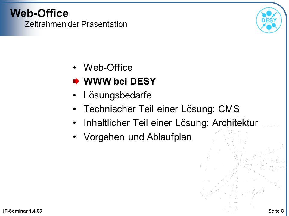 Web-Office IT-Seminar 1.4.03 Seite 8 Zeitrahmen der Präsentation Web-Office WWW bei DESY Lösungsbedarfe Technischer Teil einer Lösung: CMS Inhaltliche
