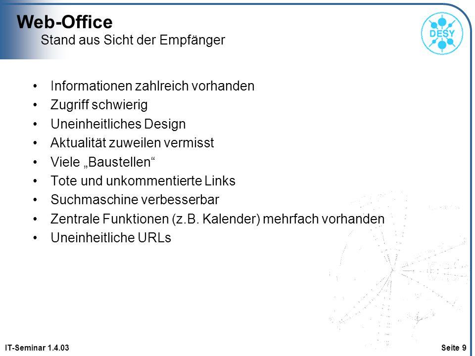 Web-Office IT-Seminar 1.4.03 Seite 9 Stand aus Sicht der Empfänger Informationen zahlreich vorhanden Zugriff schwierig Uneinheitliches Design Aktualit
