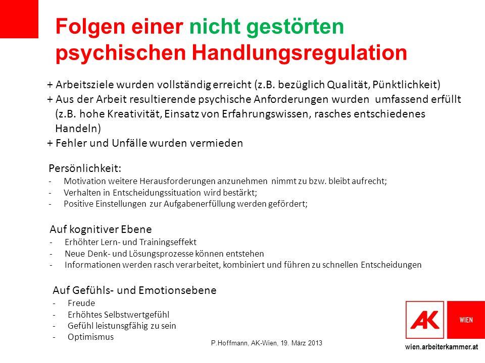 wien.arbeiterkammer.at Folgen einer nicht gestörten psychischen Handlungsregulation + Arbeitsziele wurden vollständig erreicht (z.B.