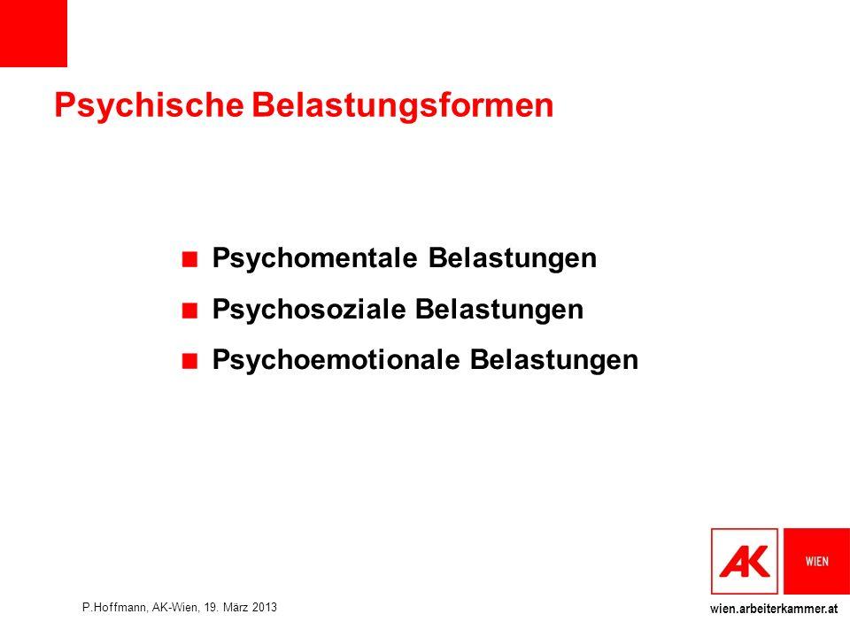 wien.arbeiterkammer.at Psychische Belastungsformen Psychomentale Belastungen Psychosoziale Belastungen Psychoemotionale Belastungen P.Hoffmann, AK-Wien, 19.