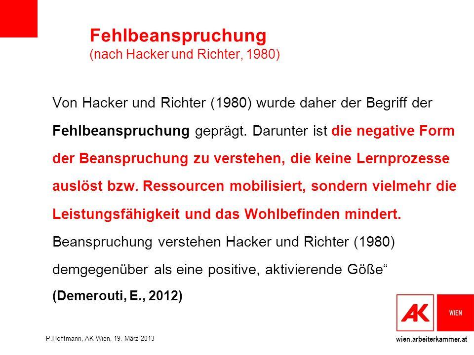 wien.arbeiterkammer.at Fehlbeanspruchung (nach Hacker und Richter, 1980) Von Hacker und Richter (1980) wurde daher der Begriff der Fehlbeanspruchung geprägt.
