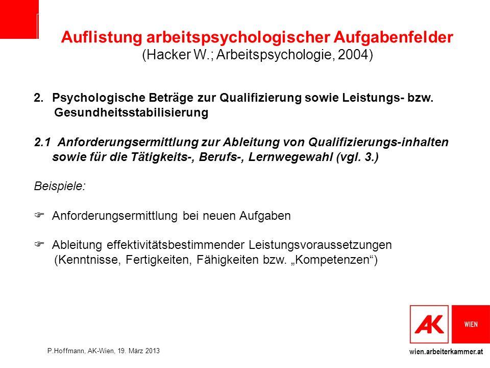 wien.arbeiterkammer.at Auflistung arbeitspsychologischer Aufgabenfelder (Hacker W.; Arbeitspsychologie, 2004) 2.Psychologische Beträge zur Qualifizierung sowie Leistungs- bzw.
