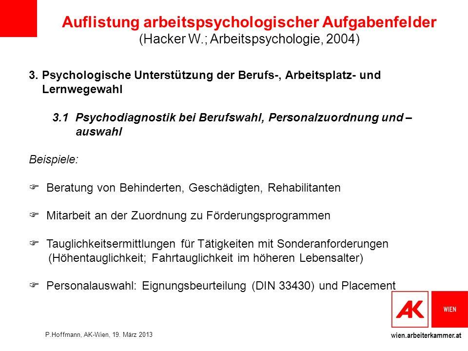 wien.arbeiterkammer.at Auflistung arbeitspsychologischer Aufgabenfelder (Hacker W.; Arbeitspsychologie, 2004) 3.