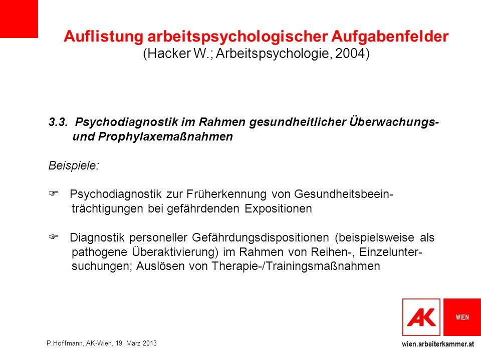 wien.arbeiterkammer.at Auflistung arbeitspsychologischer Aufgabenfelder (Hacker W.; Arbeitspsychologie, 2004) 3.3.