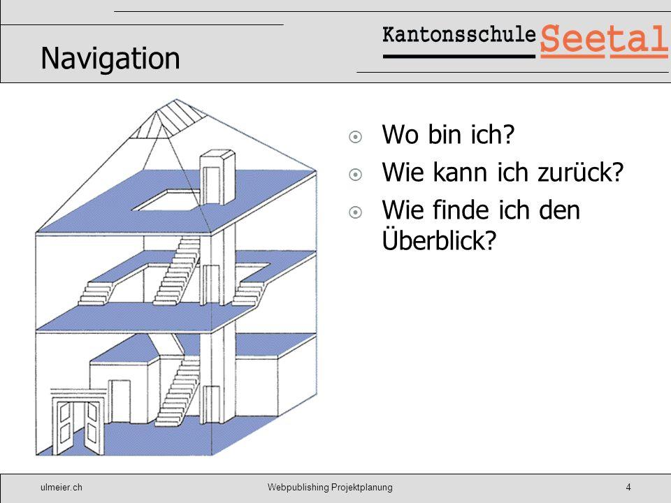 ulmeier.chWebpublishing Projektplanung4 Navigation Wo bin ich? Wie kann ich zurück? Wie finde ich den Überblick?