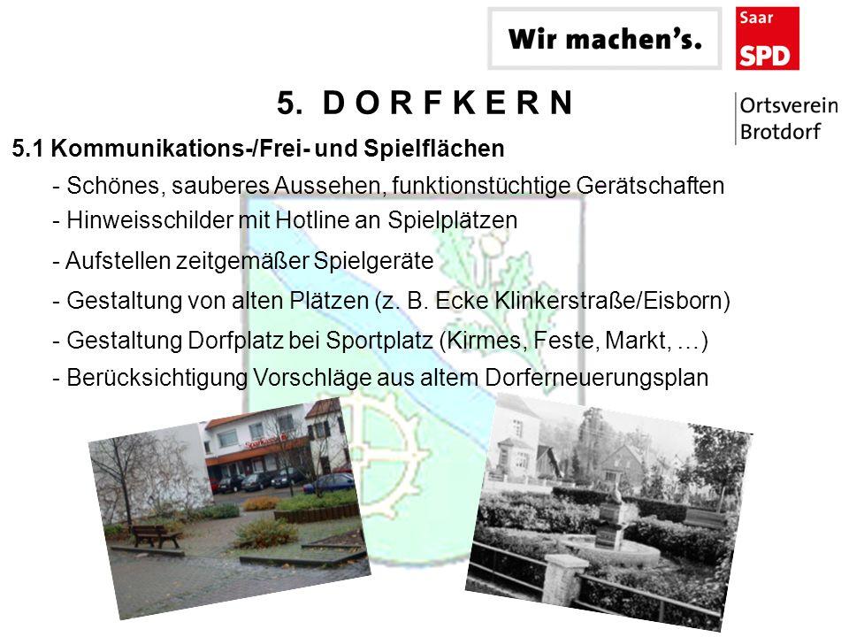 5. D O R F K E R N - Hinweisschilder mit Hotline an Spielplätzen - Schönes, sauberes Aussehen, funktionstüchtige Gerätschaften 5.1 Kommunikations-/Fre