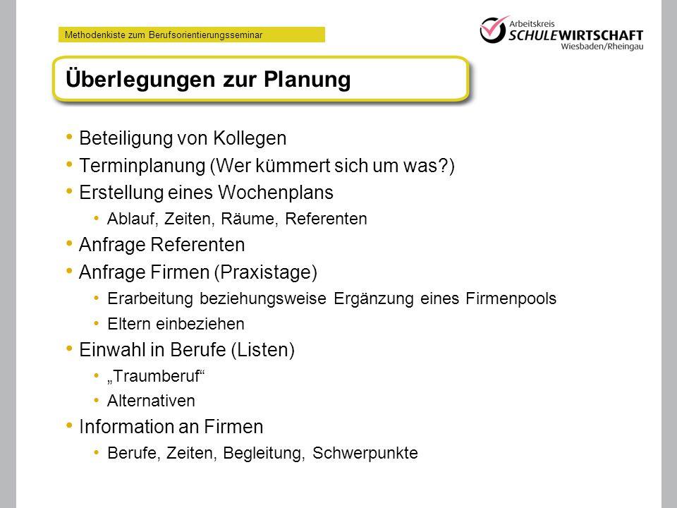 Methodenkiste zum Berufsorientierungsseminar Überlegungen zur Planung Beteiligung von Kollegen Terminplanung (Wer kümmert sich um was?) Erstellung ein