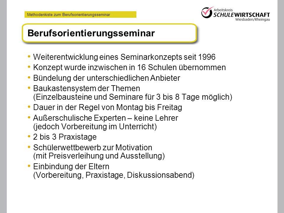 Methodenkiste zum Berufsorientierungsseminar Weiterentwicklung eines Seminarkonzepts seit 1996 Konzept wurde inzwischen in 16 Schulen übernommen Bünde