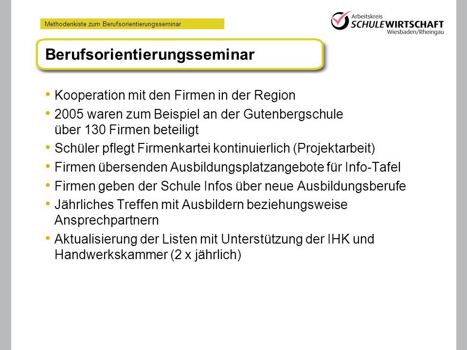 Methodenkiste zum Berufsorientierungsseminar Kooperation mit den Firmen in der Region 2005 waren zum Beispiel an der Gutenbergschule über 130 Firmen b