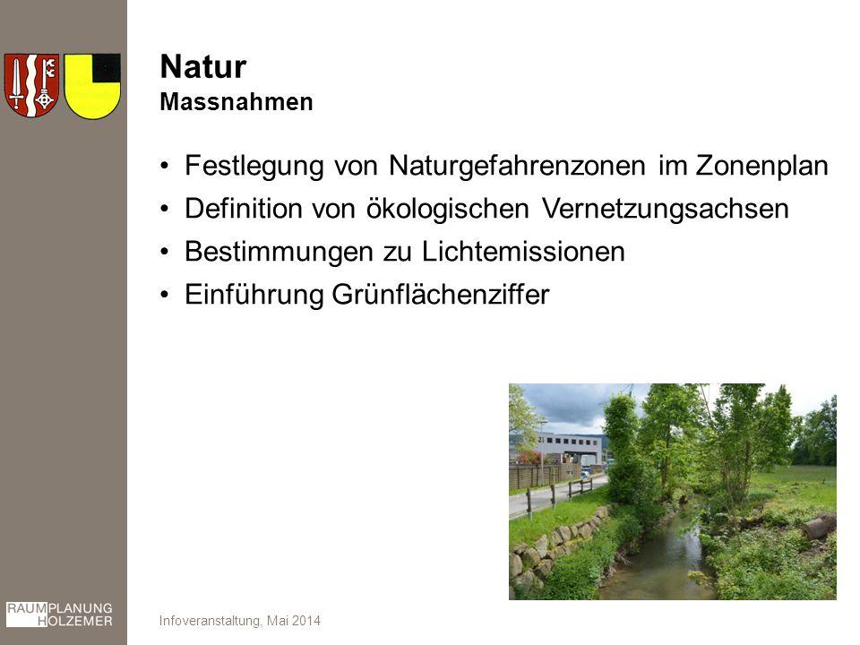 Natur Festlegung von Naturgefahrenzonen im Zonenplan Definition von ökologischen Vernetzungsachsen Bestimmungen zu Lichtemissionen Einführung Grünflächenziffer Infoveranstaltung, Mai 2014 Massnahmen