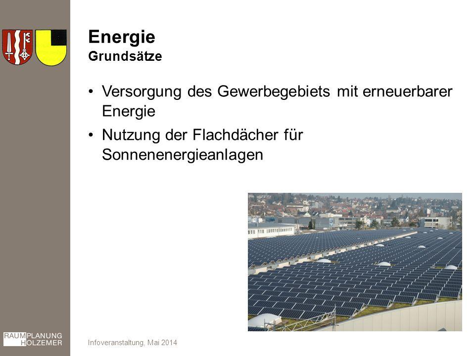 Energie Versorgung des Gewerbegebiets mit erneuerbarer Energie Nutzung der Flachdächer für Sonnenenergieanlagen Infoveranstaltung, Mai 2014 Grundsätze