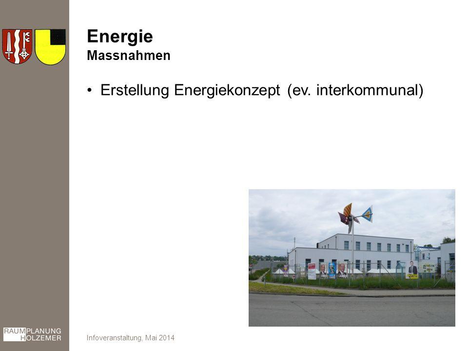 Energie Erstellung Energiekonzept (ev. interkommunal) Infoveranstaltung, Mai 2014 Massnahmen
