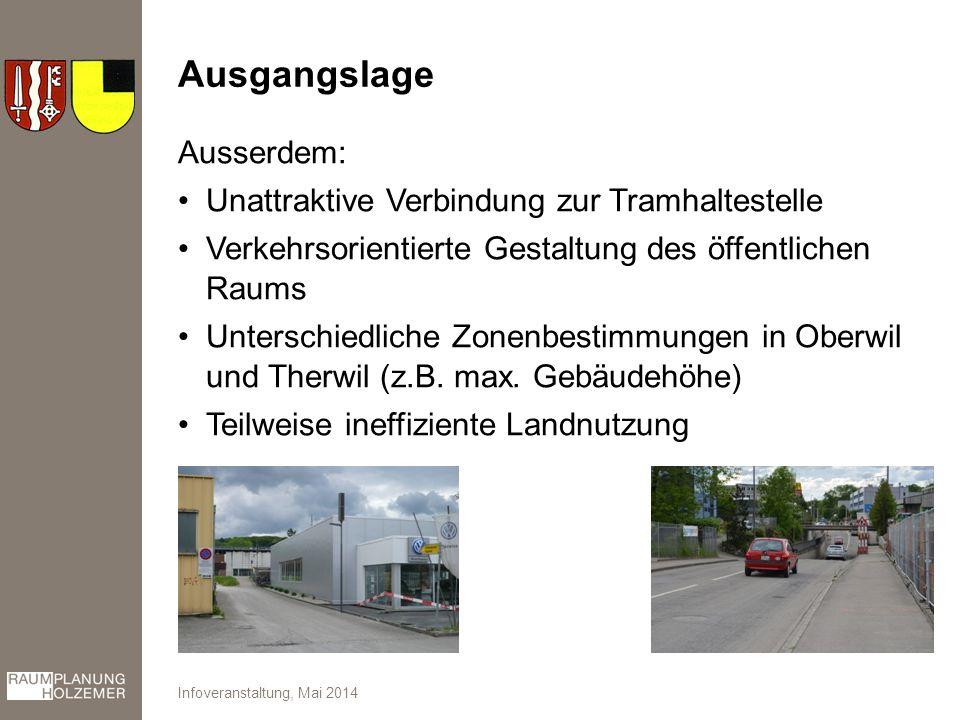 Ausgangslage Ausserdem: Unattraktive Verbindung zur Tramhaltestelle Verkehrsorientierte Gestaltung des öffentlichen Raums Unterschiedliche Zonenbestimmungen in Oberwil und Therwil (z.B.