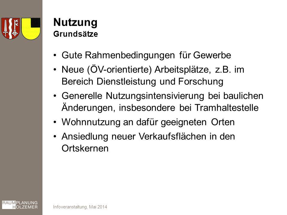 Nutzung Gute Rahmenbedingungen für Gewerbe Neue (ÖV-orientierte) Arbeitsplätze, z.B.