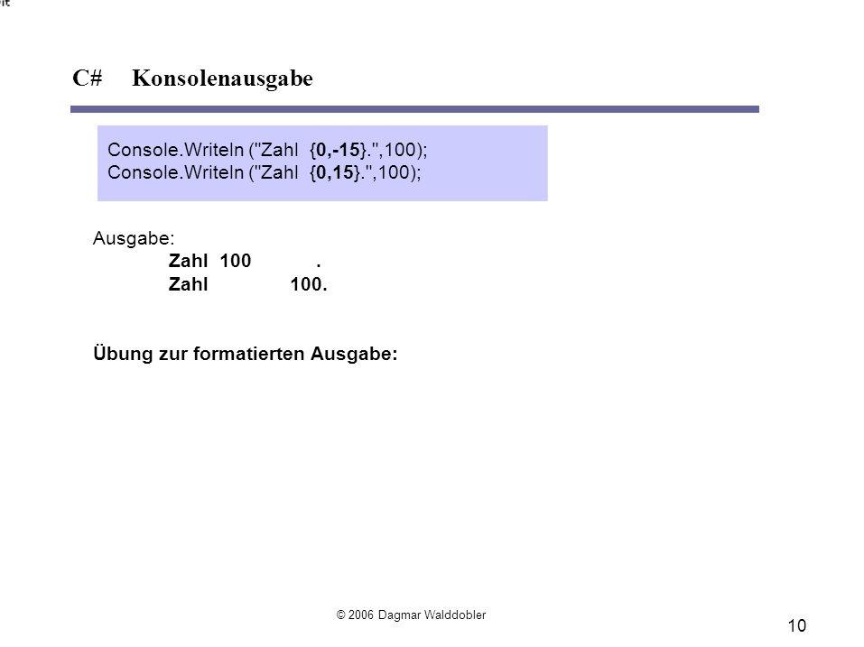 10 C# Konsolenausgabe © 2006 Dagmar Walddobler Ausgabe: Zahl 100.