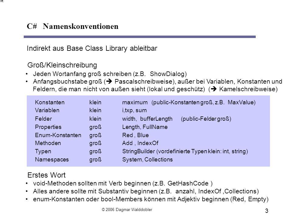 3 Indirekt aus Base Class Library ableitbar Groß/Kleinschreibung Jeden Wortanfang groß schreiben (z.B.