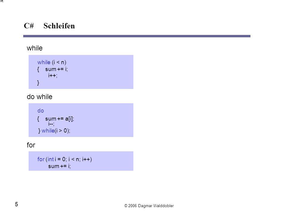 while while(i < n) { sum += i; i++; } do while do { sum += a[i]; i--; } while(i > 0); for for(inti = 0; i < n; i++) sum += i; © 2006 Dagmar Walddobler 5 C# Schleifen