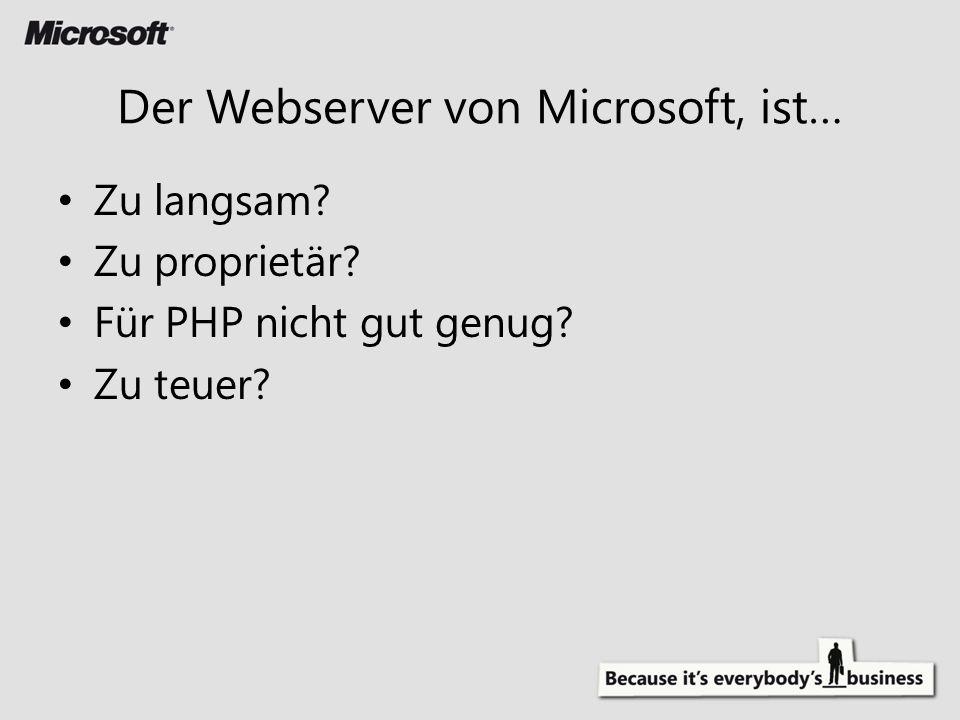 Zu langsam? Zu proprietär? Für PHP nicht gut genug? Zu teuer? Der Webserver von Microsoft, ist…