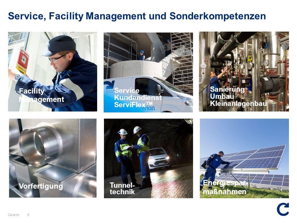 Caverion Service, Facility Management und Sonderkompetenzen Service Kundendienst ServiFlex TM 6 Facility Management Sanierung Umbau Kleinanlagenbau Vo