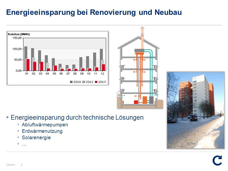 Caverion Energieeinsparung bei Renovierung und Neubau 8 ° Energieeinsparung durch technische Lösungen ° Abluftwärmepumpen ° Erdwärmenutzung ° Solarene
