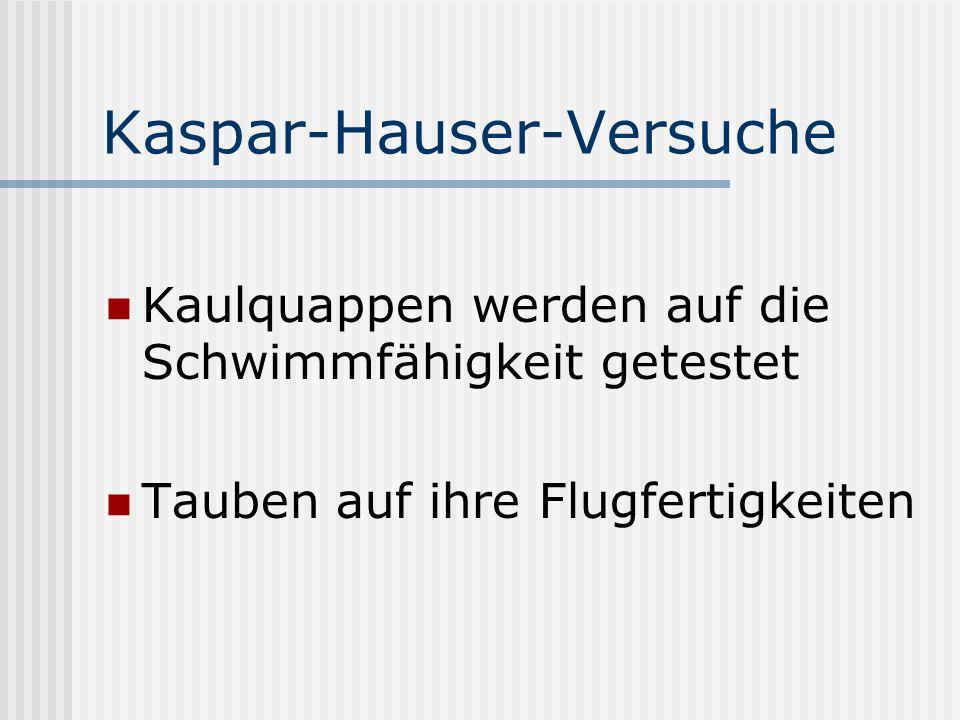 Kaspar-Hauser-Versuche Kaulquappen werden auf die Schwimmfähigkeit getestet Tauben auf ihre Flugfertigkeiten