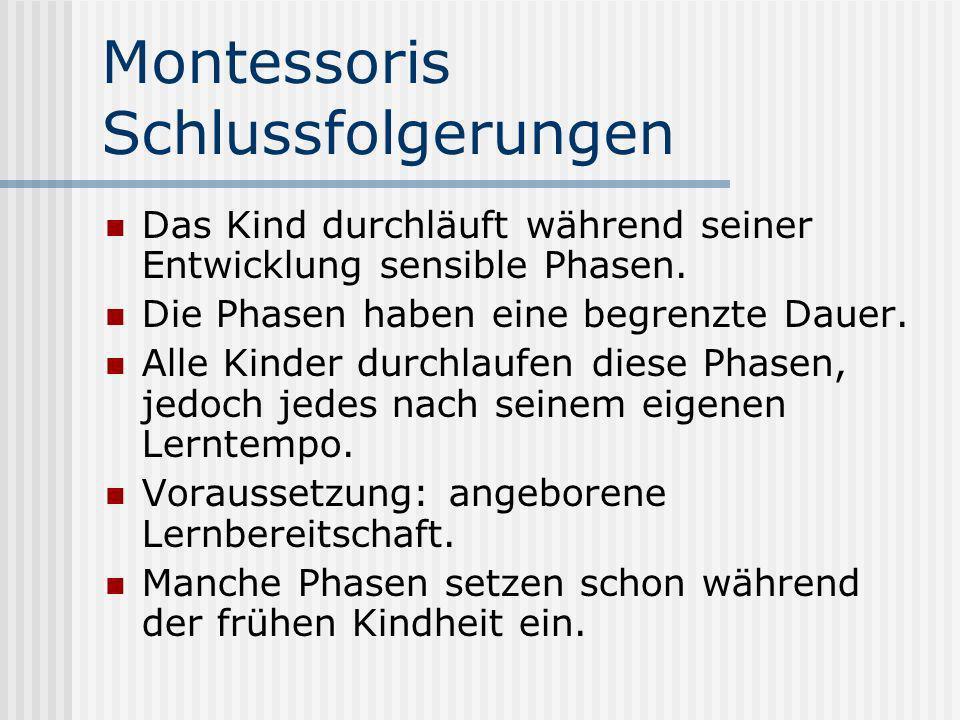 Montessoris Schlussfolgerungen Das Kind durchläuft während seiner Entwicklung sensible Phasen. Die Phasen haben eine begrenzte Dauer. Alle Kinder durc